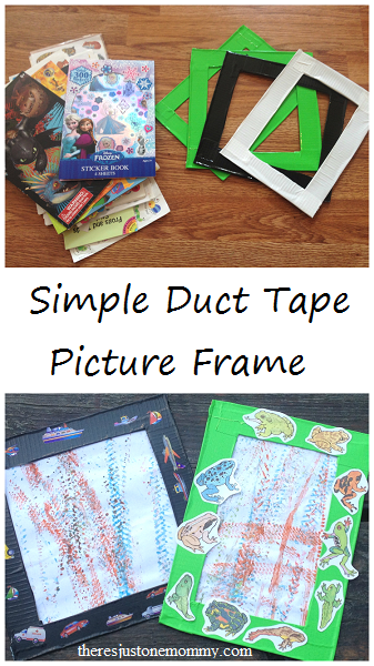 simple duct tape craft: how to make a duct tape picture frame to display kids artwork