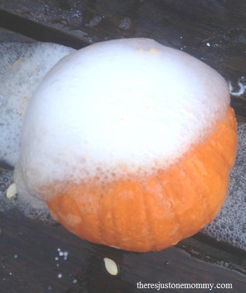 make a pumpkin volcano!