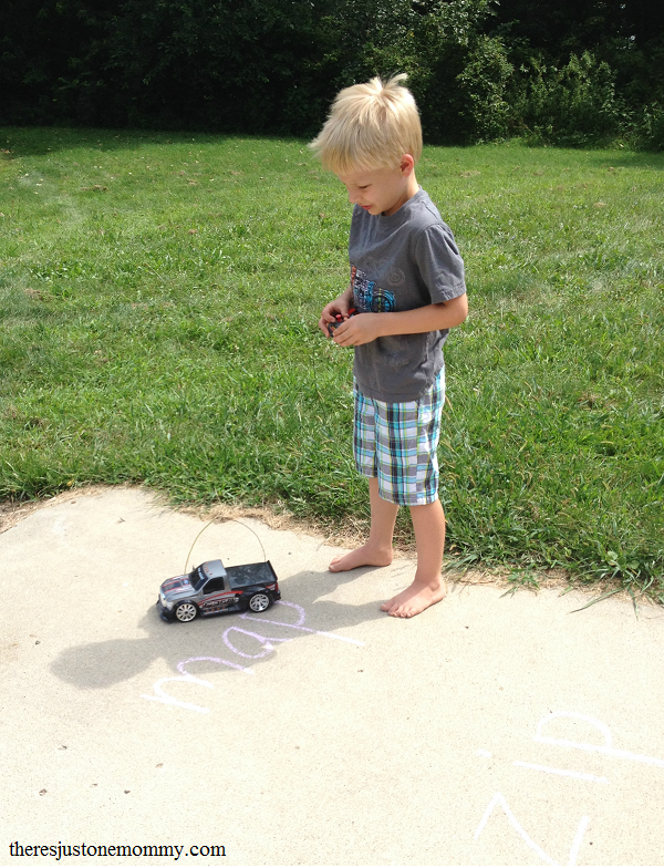 sight word practice at home with remote control trucks