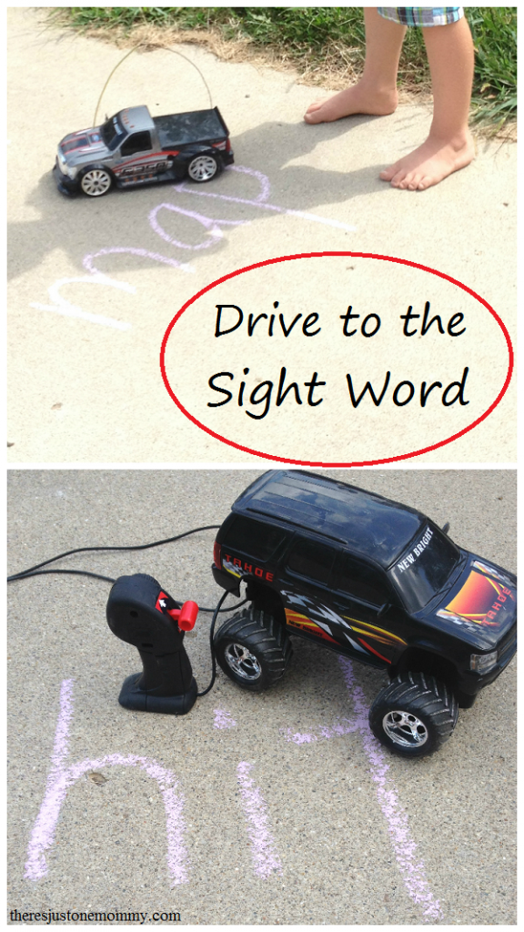 Make sight word practice at home fun with Drive to the Sight Word -- fun outdoor sight word game