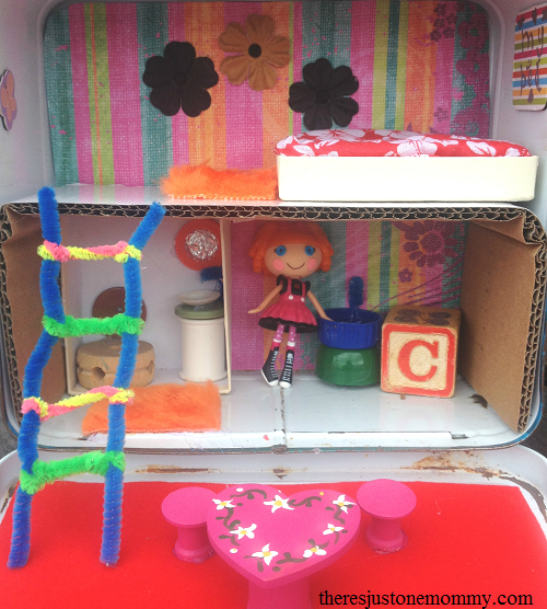 recycle an old lunchbox into a cute dollhouse
