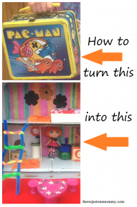 How to turn an old lunchbox into a portable dollhouse -- cute DIY gift idea!