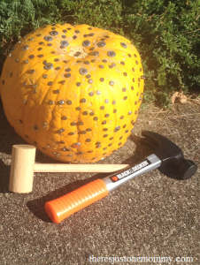 fun way to decorate pumpkin with nails