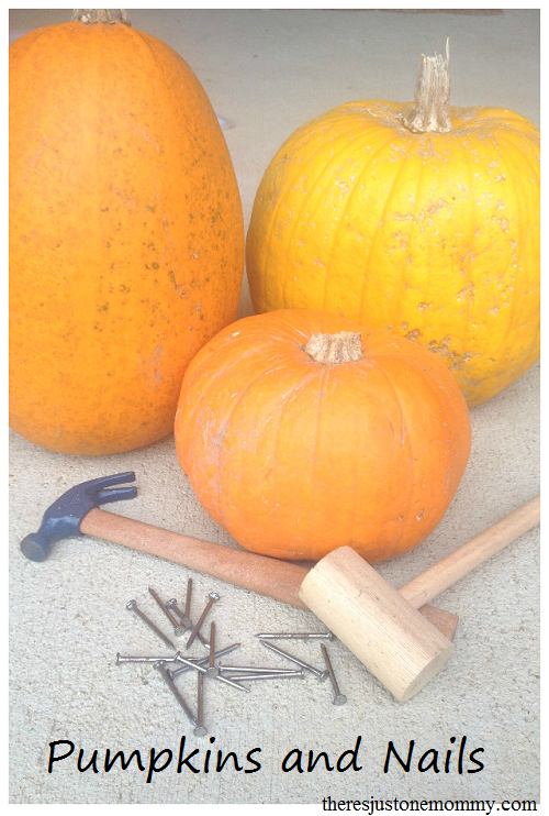 Hammering nails in pumpkins -- great for eye-hand coordination and proprioceptive input!