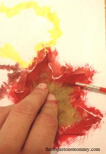 leaf resist painting craft
