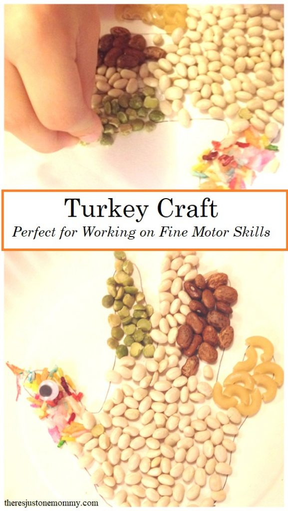 preschool turkey craft with dried beans