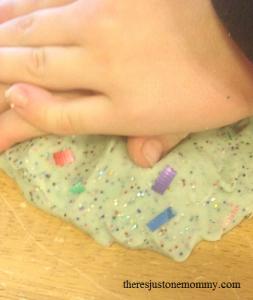 homemade New Year's confetti playdough