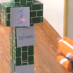 sight word practice at home with Nerf guns