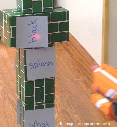 sight word practice at home -- fun sight word game with Nerf guns