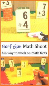 Nerf gun math facts shooting game