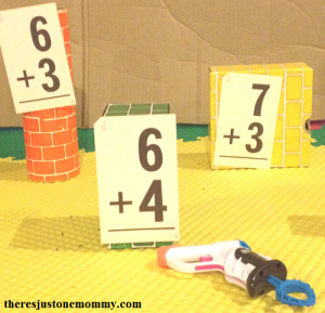 fun math activity with Nerf guns