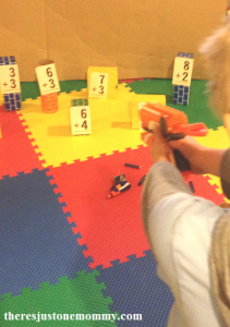 math activity with Nerf guns