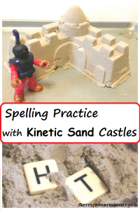 make spelling practice more fun with kinetic sand castles!