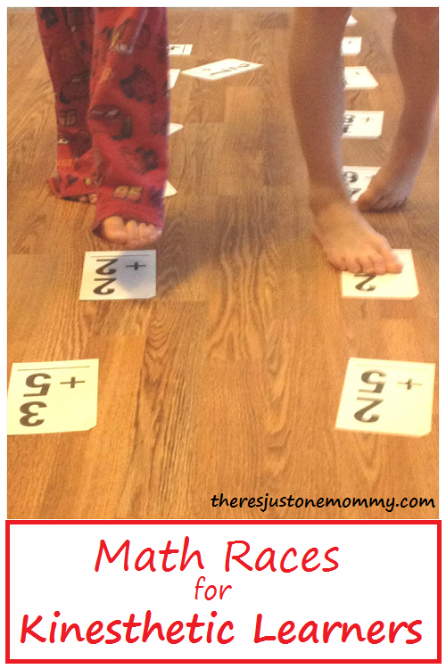 math races -- perfect math activity for kinesthetic learners; fun math fact activity to help learn math facts at home