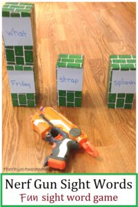 use Nerf guns to practice sight words