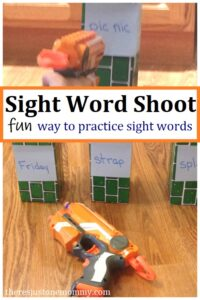 fun way to practice sight words with Nerf guns