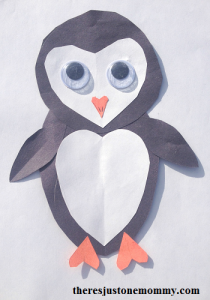 kids heart penguin craft