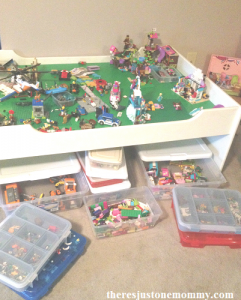 Lego storage on train table