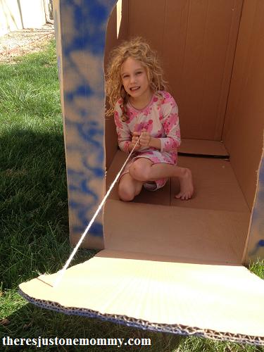 DIY cardboard castle playhouse