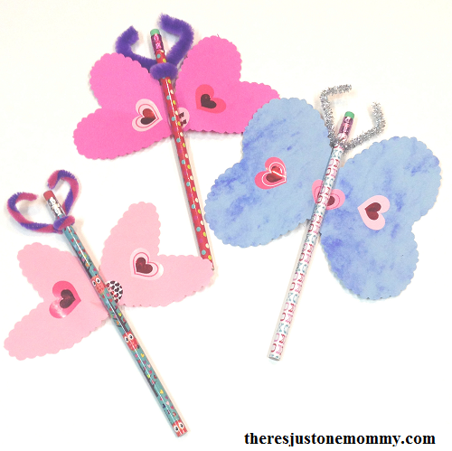 heart craft: make a heart butterfly Valentine using a holiday pencil as a special gift for school friends