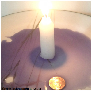 making water rise with candle vacuum