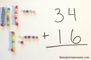 Teaching Double Digit Addition with Homemade Math Manipulatives