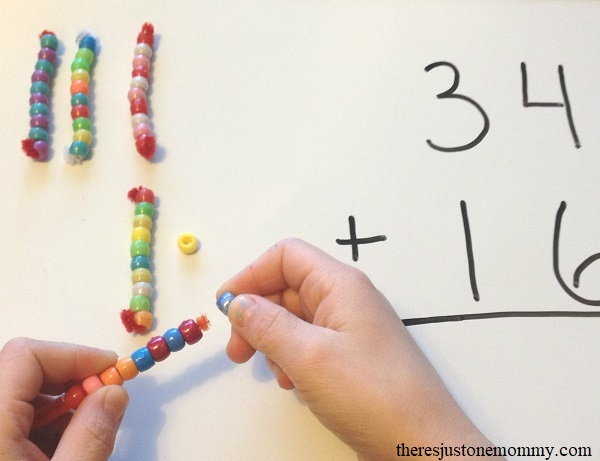 using math manipulatives to teach double digit addition