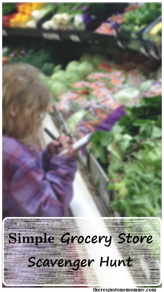 grocery store scavenger hunt -- simple activity to keep kids entertained and learning at the store