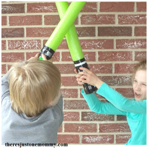diy pool noodle lightsaber -- simple Star Wars craft
