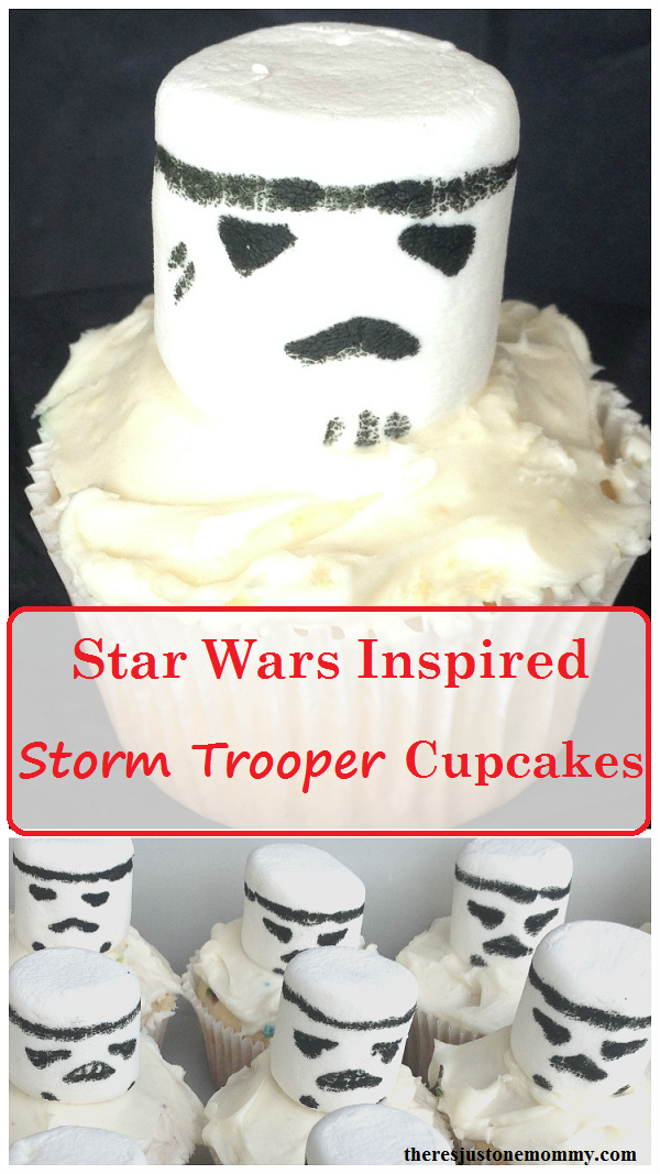Star Wars cupcakes -- directions to make simple marshmallow storm trooper cupcakes for kids Star Wars party
