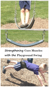 increasing core strength in kids using a swing