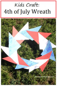 4th of July wreath: simple kids 4th of July craft, make a pinwheel-inspired red, white, and blue wreath