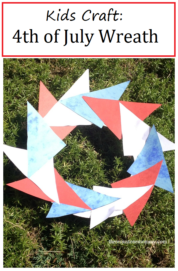 4th of July wreath: simple kids 4th of July craft, make a pinwheel-inspired red, white, and blue wreath (patriotic kids craft)