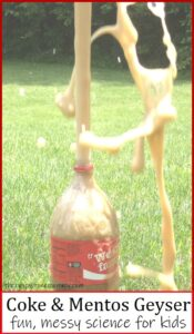 picture of soda pop and Mentos geyser