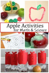apple STEM activities, including apple math and apple science experiments