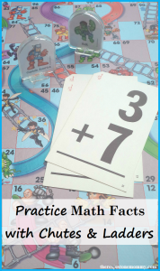 Fun way to practice math facts -- repurpose a Chutes and Ladders game to practice addition and subtraction facts