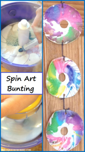 kids craft: create your own hangingbunting with spin art