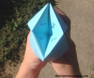 using a cootie catcher to practice math facts at home