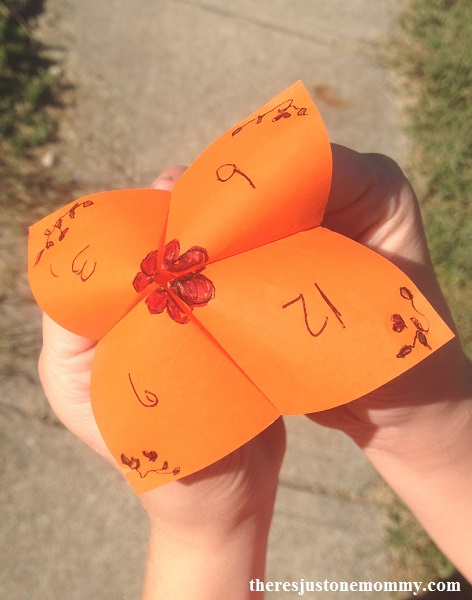 math facts activity with a cootie catcher -- perfect for addition facts, subtraction, division, or multiplication fact practice