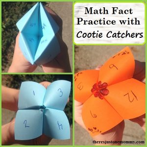 math fact practice with a cootie catcher -- perfect for practicing addition facts, subtraction, division, or multiplication math facts