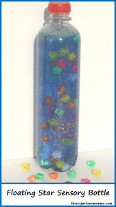 Floating Star Sensory Bottle -- sensory bottle using hair gel. Some of the stars float to the top