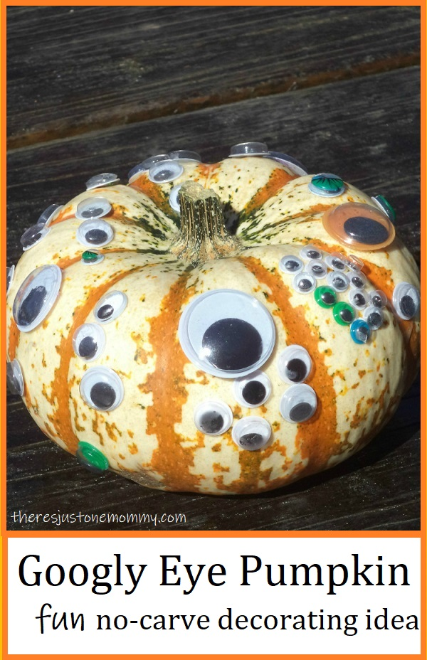 pumpkin decorated with googly eyes