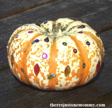 sequins and gemstones pumpkin -- sparkly no-carve pumpkin idea