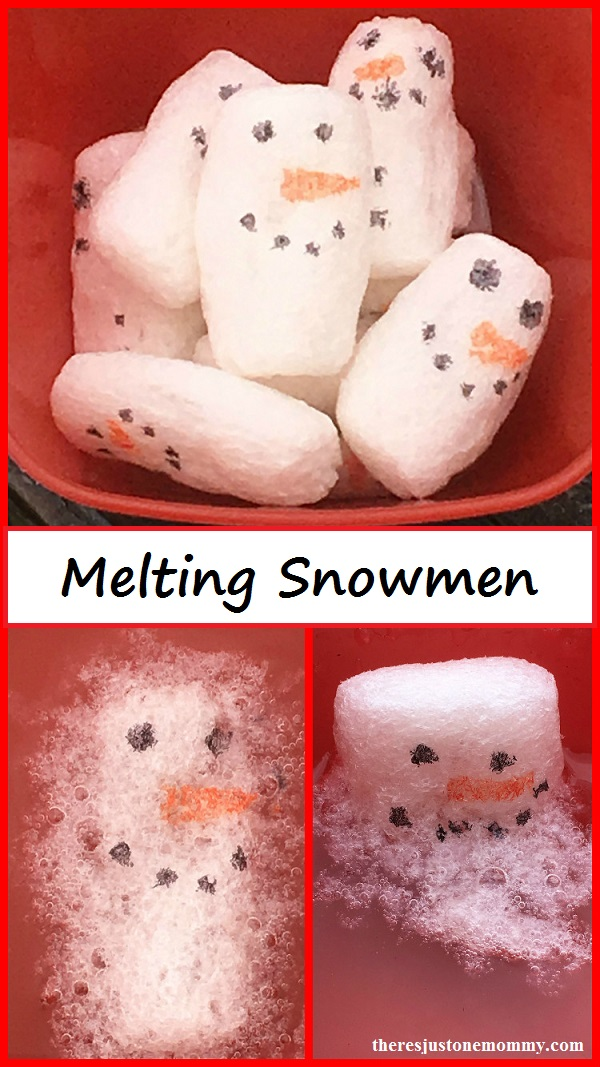 Melting Snowmen activity -- winter STEM activity using biodegradable packing peanuts