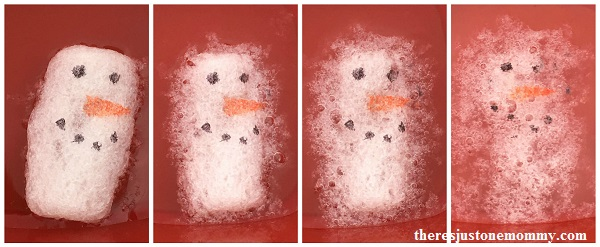 melting snowmen: kids winter STEM activity using packing peanuts