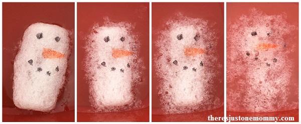 melting snowmen: kids winter STEM activity using packing peanuts