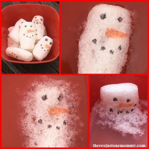 melting snowmen winter STEM activity using packing peanuts