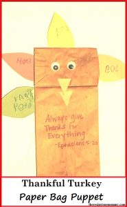 Thankful Turkey -- simple paper bag turkey puppet is perfect as preschooler Thanksgiving craft