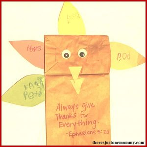 Thankful turkey -- simple kids Thanksgiving craft, make a turkey paper bag puppet