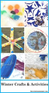 collection of kids winter crafts & activities; snowman crafts,snowflake crafts, more winter kids activities